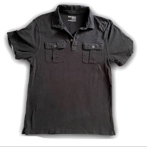 OLD NAVY BLACK MILITARY POLO